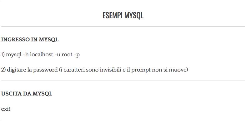 Comandi di testo per MySQL Server