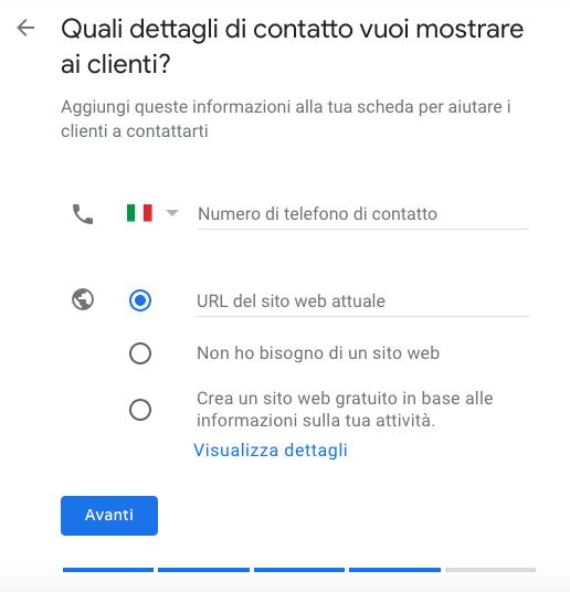dettagli di contatto su Google My Business